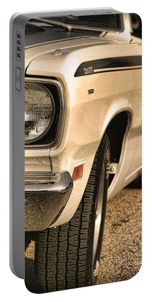 1970 Portable Battery Charger featuring the photograph 1971 Plymouth Duster 340 Four Barrel by Gordon Dean II