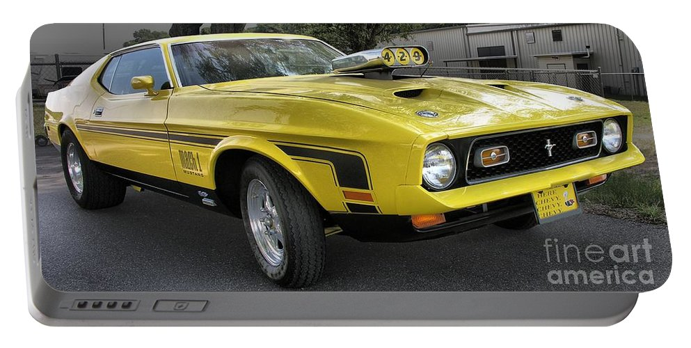 Classic Cars Portable Battery Charger featuring the photograph 1972 Ford Mustang Mach 1 by Richard Rizzo