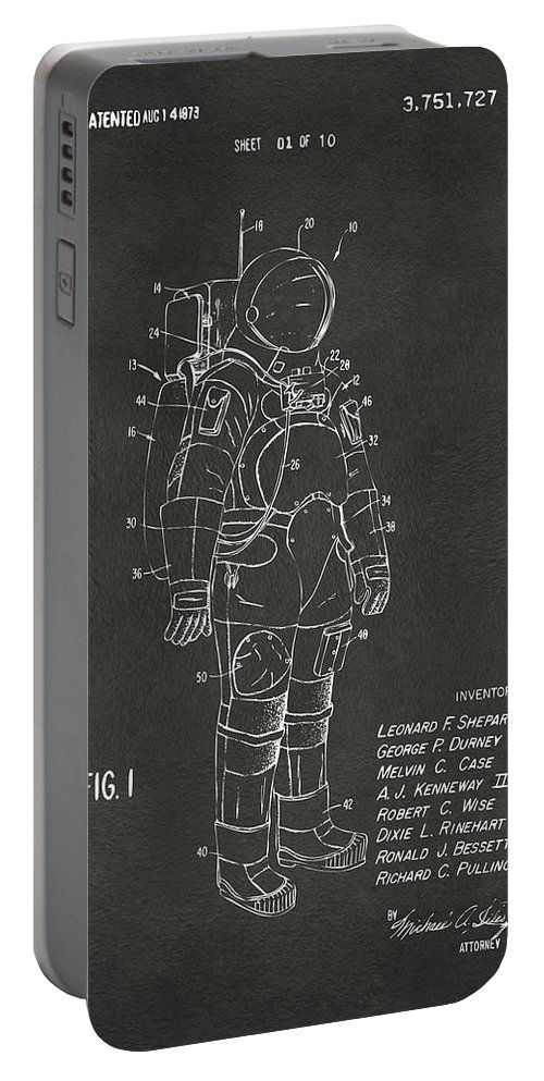 Space Suit Portable Battery Charger featuring the digital art 1973 Space Suit Patent Inventors Artwork - Gray by Nikki Marie Smith