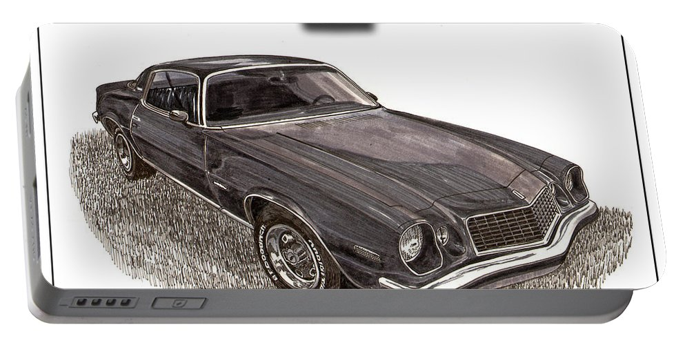 A Pen & Ink-wash Drawing Of A Second-generation Chevrolet Camaro Which Was Produced By Chevrolet From 1970 Through The 1981 Model Years Portable Battery Charger featuring the painting 1976 Chevrolet Camato S S 396 by Jack Pumphrey