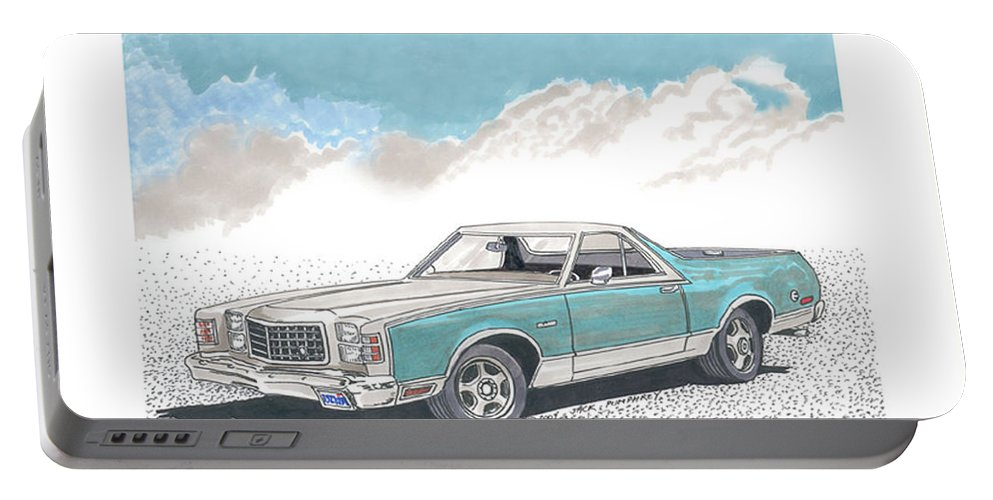 Automotive Prints Portable Battery Charger featuring the painting 1977 Ford Ranchero by Jack Pumphrey