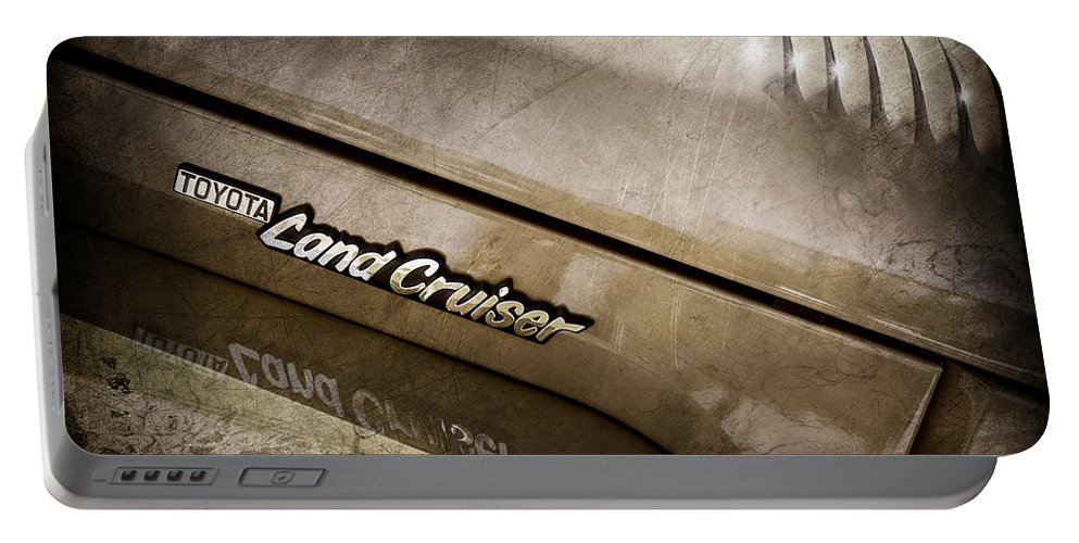 1978 Toyota Land Cruiser Fj40 Side Emblem Portable Battery Charger featuring the photograph 1978 Toyota Land Cruiser Fj40 Side Emblem -0543ac by Jill Reger