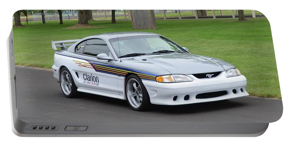 1995 Portable Battery Charger featuring the photograph 1995 Clarion Mustang Gt Herr by Mobile Event Photo Car Show Photography