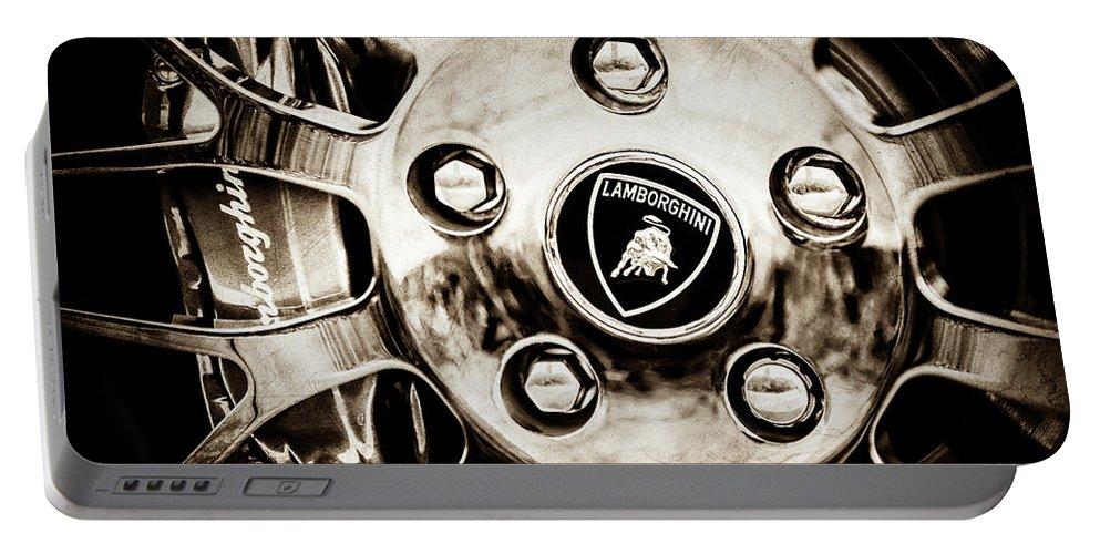 1997 Lamborghini Diablo Roadster Wheel Emblem Portable Battery Charger featuring the photograph 1997 Lamborghini Diablo Roadster Wheel Emblem -1303s by Jill Reger