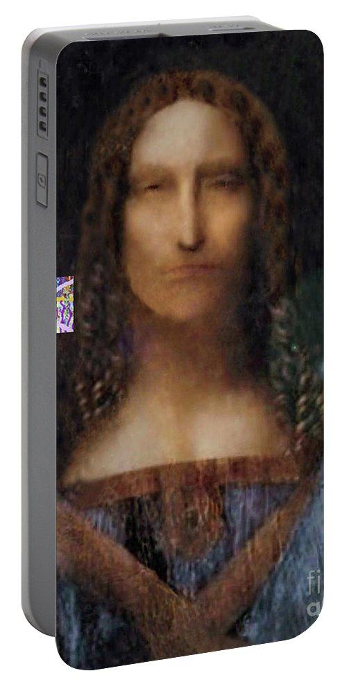Walter Paul Beibirian Portable Battery Charger featuring the digital art 2-11-2018a by Walter Paul Bebirian