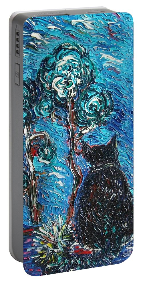 Cat Paintings Portable Battery Charger featuring the painting A Black Cat by Seon-Jeong Kim
