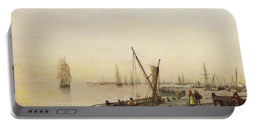 Constantinos Volanakis (greek Portable Battery Charger featuring the painting A Busy Harbour by MotionAge Designs