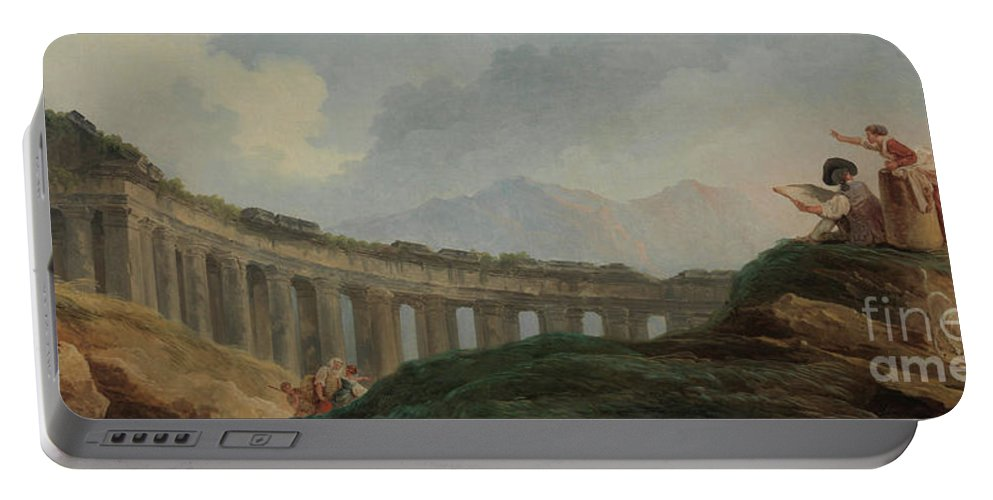 Capriccio Portable Battery Charger featuring the painting A Colonnade In Ruins by Hubert Robert