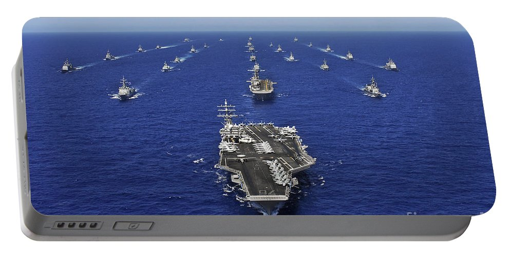 Fleet Portable Battery Charger featuring the photograph Aircraft Carrier Uss Ronald Reagan by Stocktrek Images