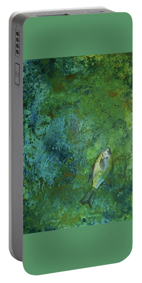 Algae Bloom Portable Battery Charger featuring the painting Algae Bloom by Art Nomad Sandra Hansen