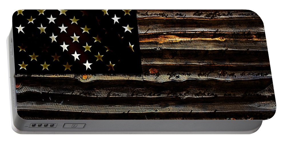 American Flag Portable Battery Charger featuring the mixed media American Flag by Marvin Blaine