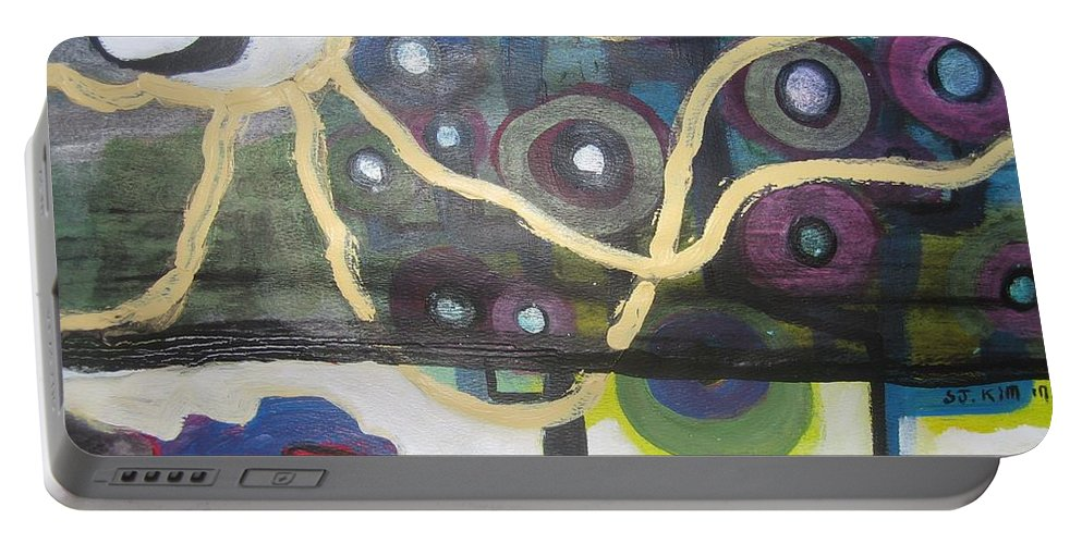 Abstract Contemporary Apple Tree Sun Plant Outdoor Blue Portable Battery Charger featuring the painting Apple Trees by Seon-Jeong Kim