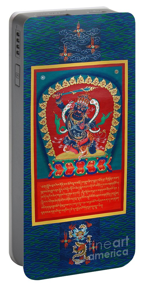 Thangka Portable Battery Charger featuring the painting Arya Achala - Immovable One by Sergey Noskov