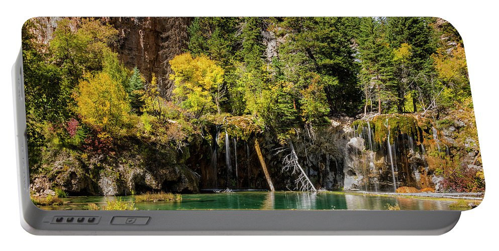 Autumn At Hanging Lake Waterfall Glenwood Canyon Colorado Portable Battery Charger featuring the photograph Autumn At Hanging Lake Waterfall - Glenwood Canyon Colorado by Brian Harig