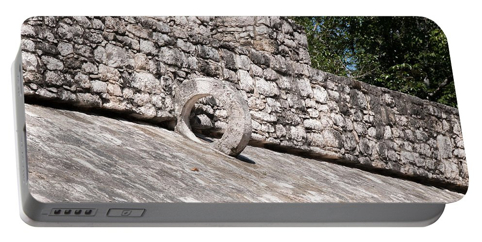 Mexico Quintana Roo Portable Battery Charger featuring the digital art Ball Court At The Coba Ruins by Carol Ailles