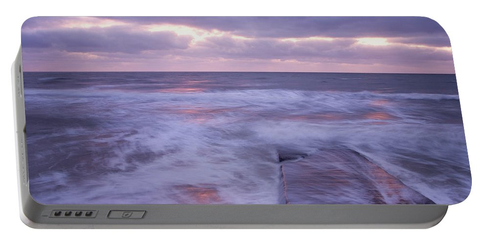 Travel Portable Battery Charger featuring the photograph Ballyconnigar Strand At Dawn by Ian Middleton