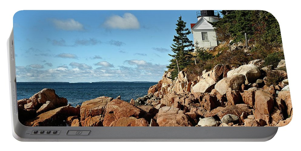 Acadia National Park Portable Battery Charger featuring the photograph Bass Harbor Lighthouse by John Greim