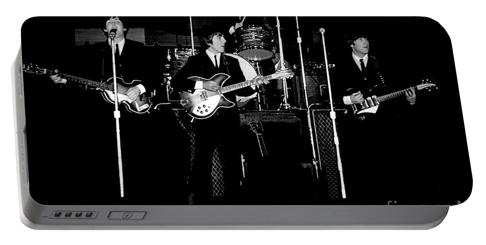 Beatles Portable Battery Charger featuring the photograph Beatles In Concert 1964 by Larry Mulvehill