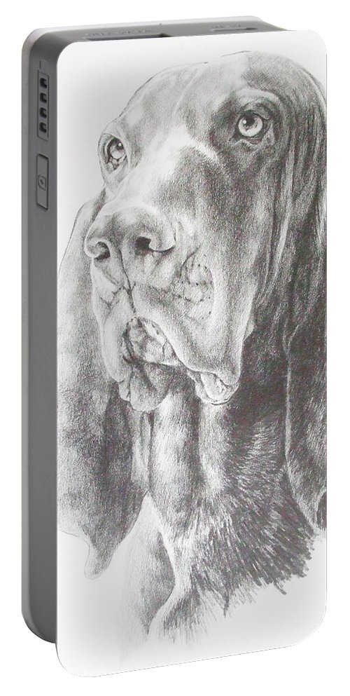 Purebred Dogs Portable Battery Charger featuring the drawing Black And Tan Coonhound by Barbara Keith