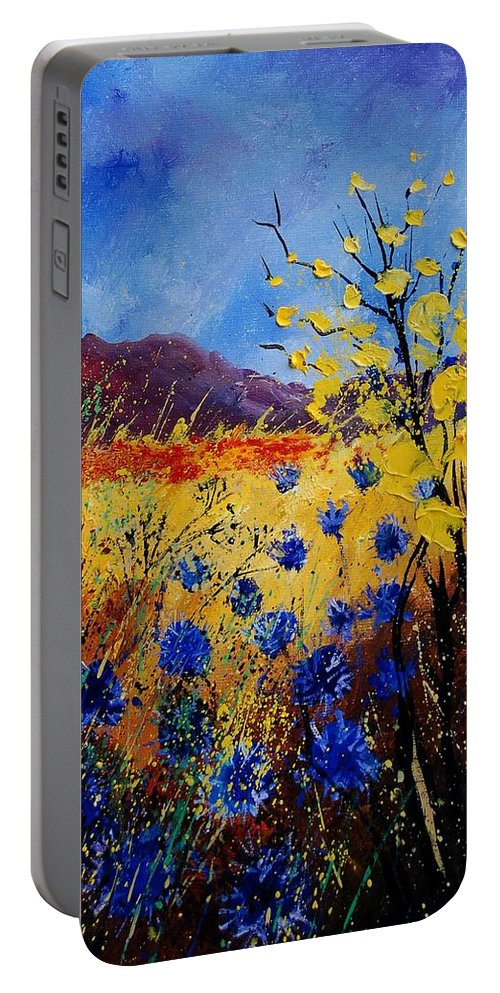 Poppies Flowers Floral Portable Battery Charger featuring the painting Blue Cornflowers by Pol Ledent