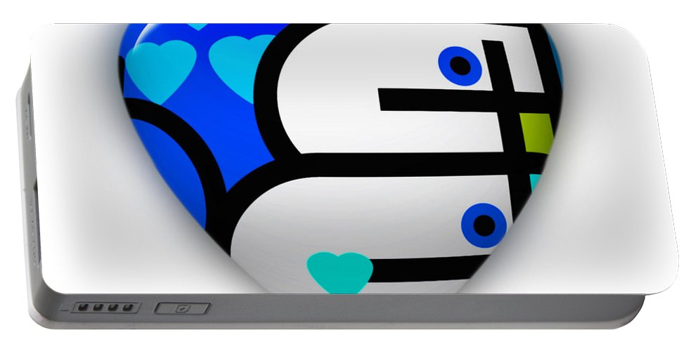 Blue Love Heart Portable Battery Charger featuring the painting Blue Heart by Charles Stuart