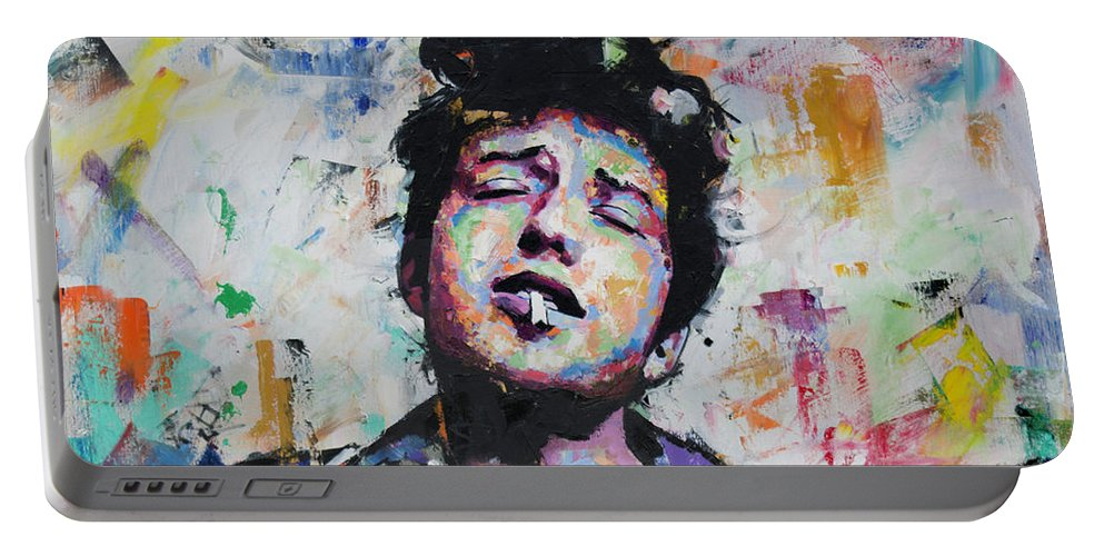 Bob Dylan Portable Battery Charger featuring the painting Bob Dylan II by Richard Day