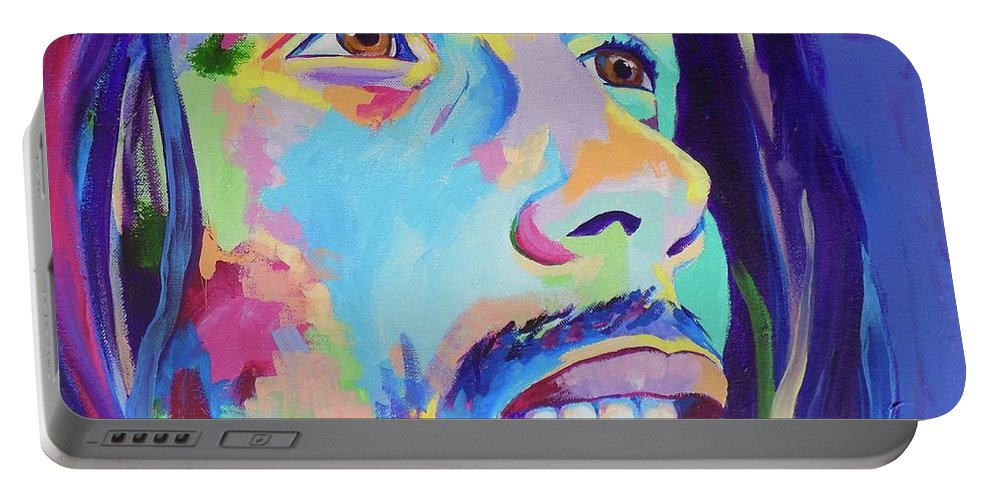 Janice Westfall Portable Battery Charger featuring the painting Bob Marley by Janice Westfall