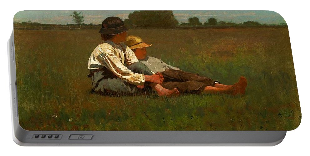 Winslow Homer - Boys In A Pasture Portable Battery Charger featuring the painting Boys In A Pasture by MotionAge Designs