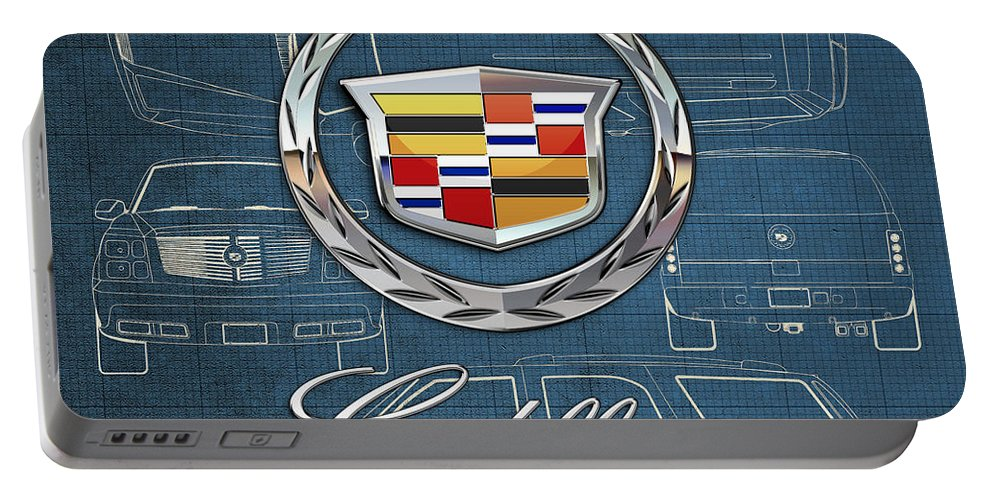 'wheels Of Fortune' By Serge Averbukh Portable Battery Charger featuring the photograph Cadillac 3 D Badge over Cadillac Escalade Blueprint by Serge Averbukh