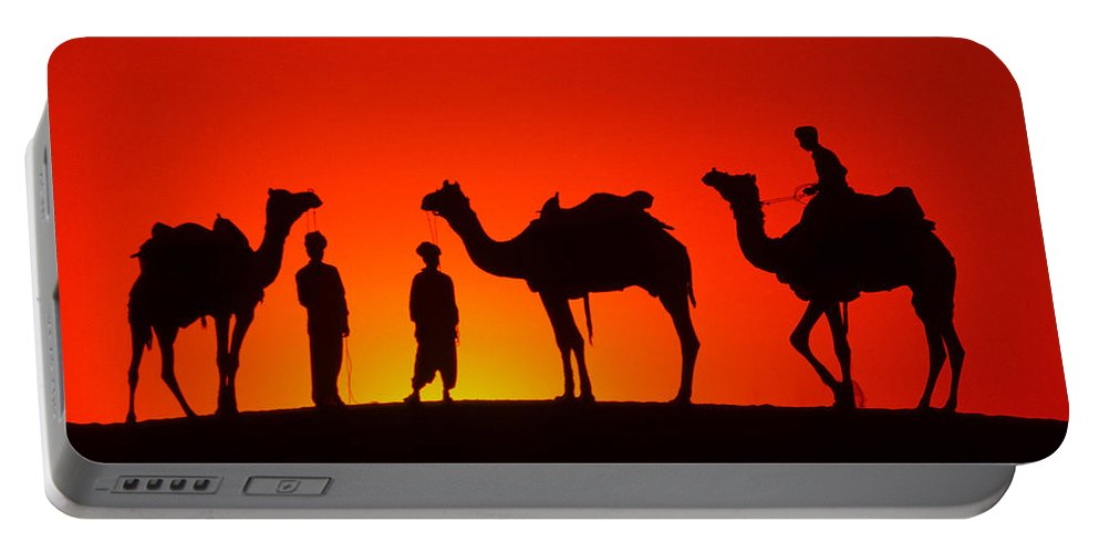 India Portable Battery Charger featuring the photograph Camels At Sunset by Michele Burgess