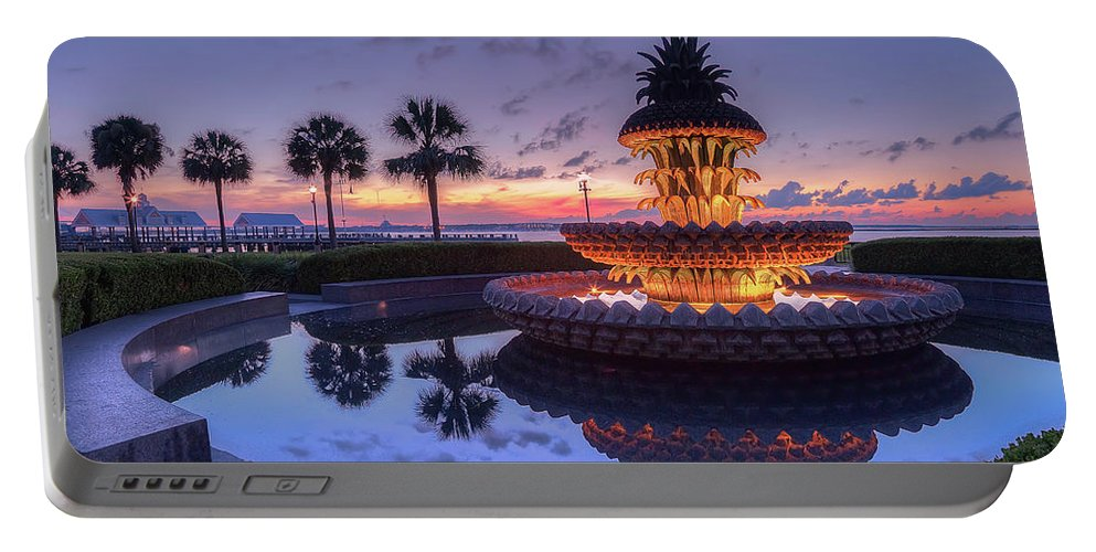 Charleston Pineapple Fountain Portable Battery Charger featuring the photograph Charleston Pineapple Fountain by Todd Wise