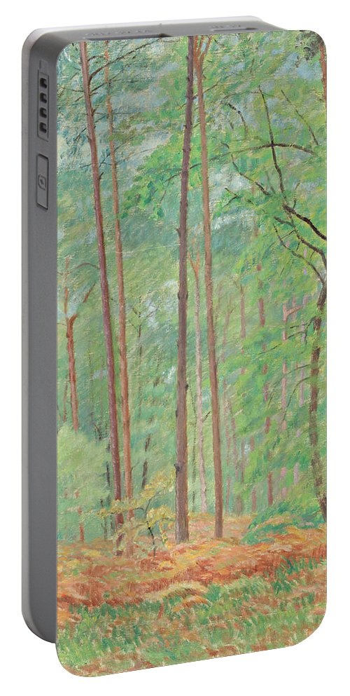Clearing By Ernest Moulines Portable Battery Charger featuring the painting Clearing by Ernest Moulines