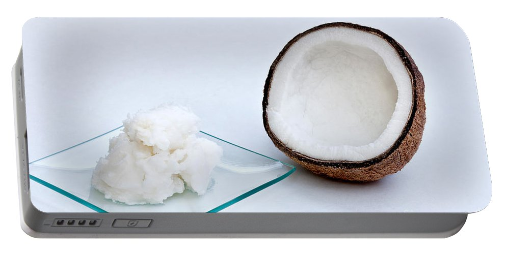 Halved Coconut Portable Battery Charger featuring the photograph Coconut Oil And Coconut by Inga Spence