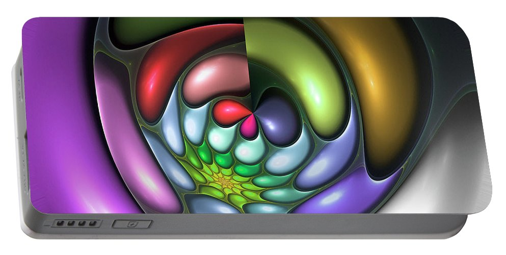 Colorful Abstract Art Design Bubble Flower Spiral Expressionism Color Purple Green Portable Battery Charger featuring the digital art Colorful by Steve K