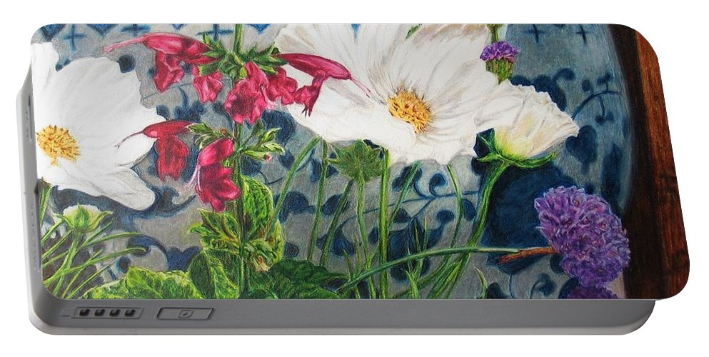 Flowers Portable Battery Charger featuring the painting Cosmos by Karen Ilari
