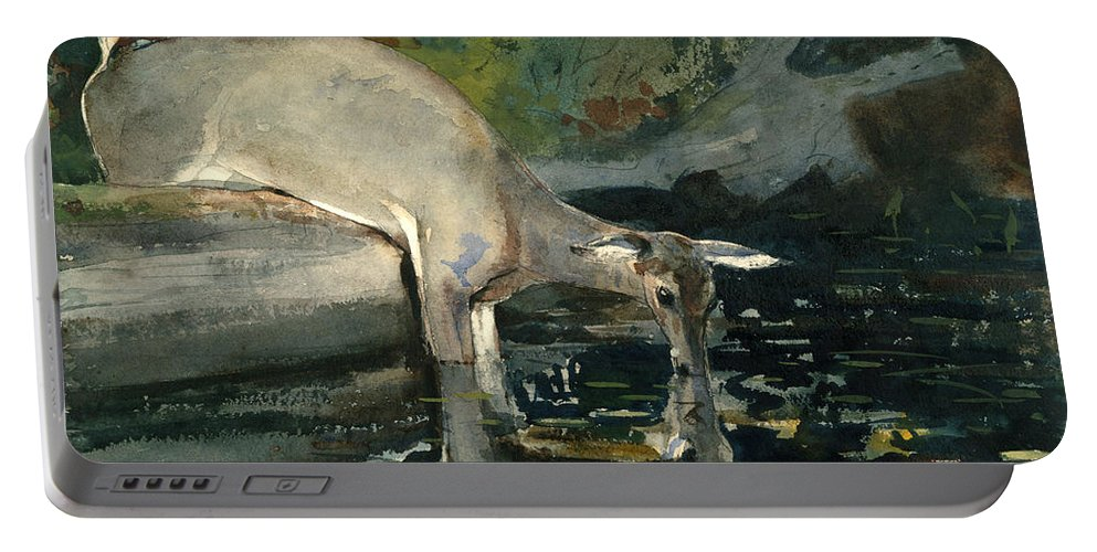 Winslow Homer Portable Battery Charger featuring the drawing Deer Drinking by Winslow Homer