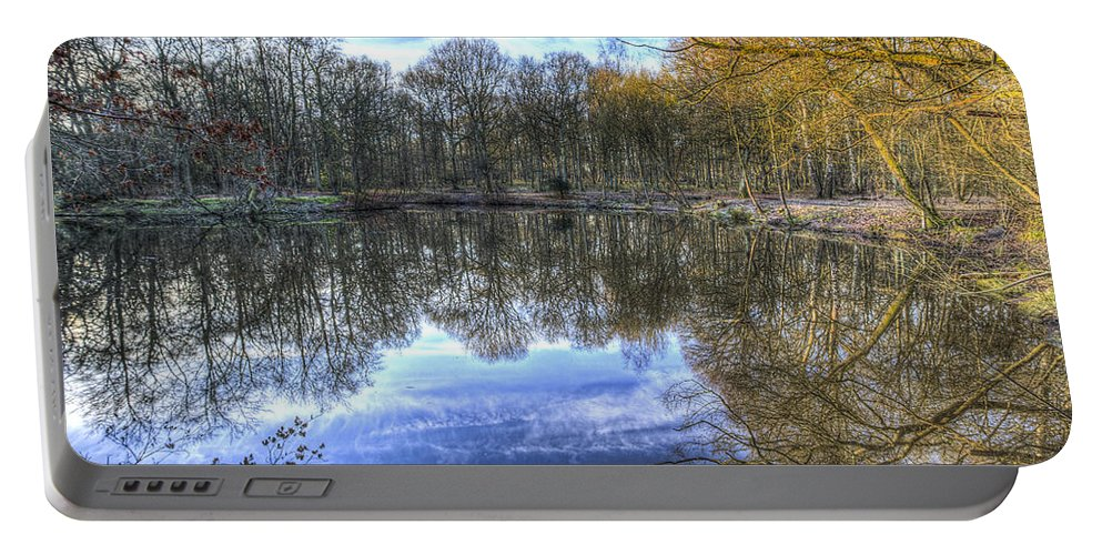 Frost Portable Battery Charger featuring the photograph Early Morning Forest Pond by David Pyatt