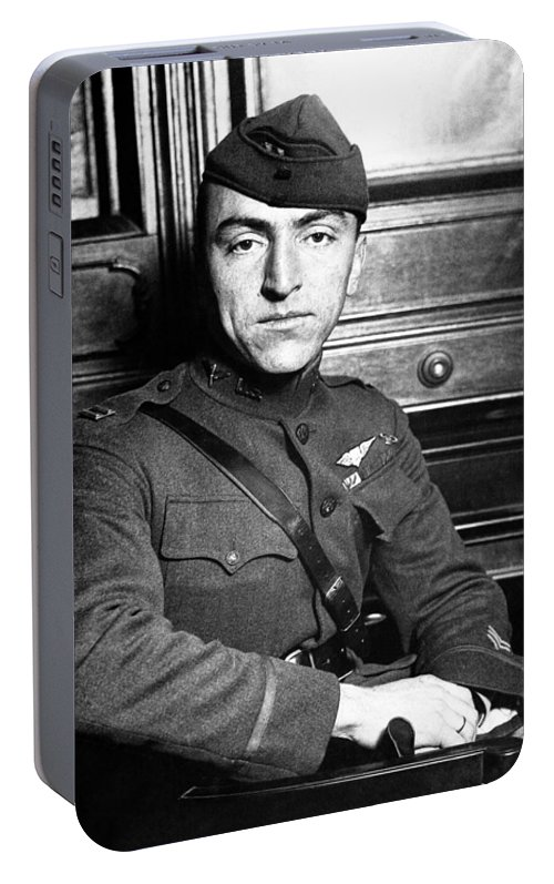 Eddie Rickenbacker Portable Battery Charger featuring the photograph Eddie Rickenbacker by War Is Hell Store