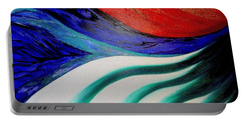 Energy Portable Battery Charger featuring the painting Energy by Kumiko Mayer