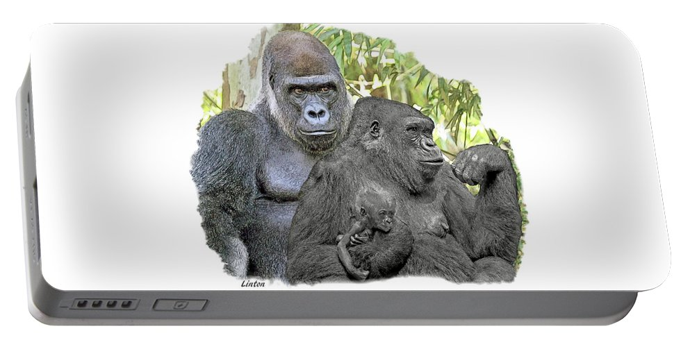 Gorilla Portable Battery Charger featuring the digital art Family Portrait by Larry Linton