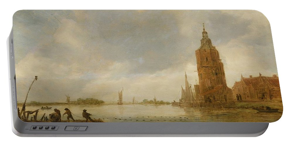 Circle Of Jan Van Goyen Fishing Boats Off An Estuary Portable Battery Charger featuring the painting Fishing Boats Off An Estuary by MotionAge Designs