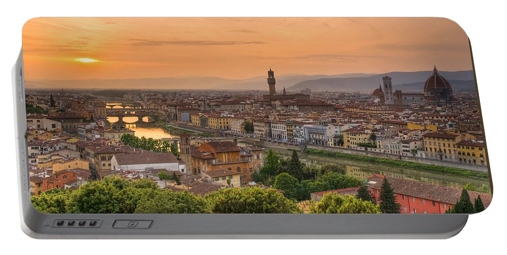 Florence Portable Battery Charger featuring the photograph Florence Sunset by Mick Burkey