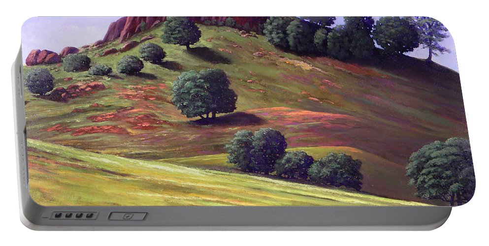 Landscape Portable Battery Charger featuring the painting Flowering Meadow by Frank Wilson