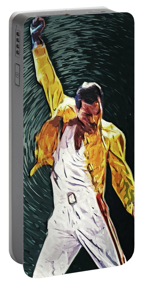 Queen Portable Battery Charger featuring the digital art Freddie Mercury by Zapista OU