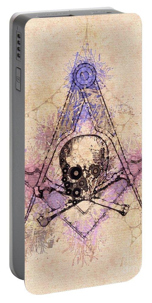 Freemason Portable Battery Charger featuring the painting Freemason, Mason, Masonic, Lodge, Symbol by Pierre Blanchard
