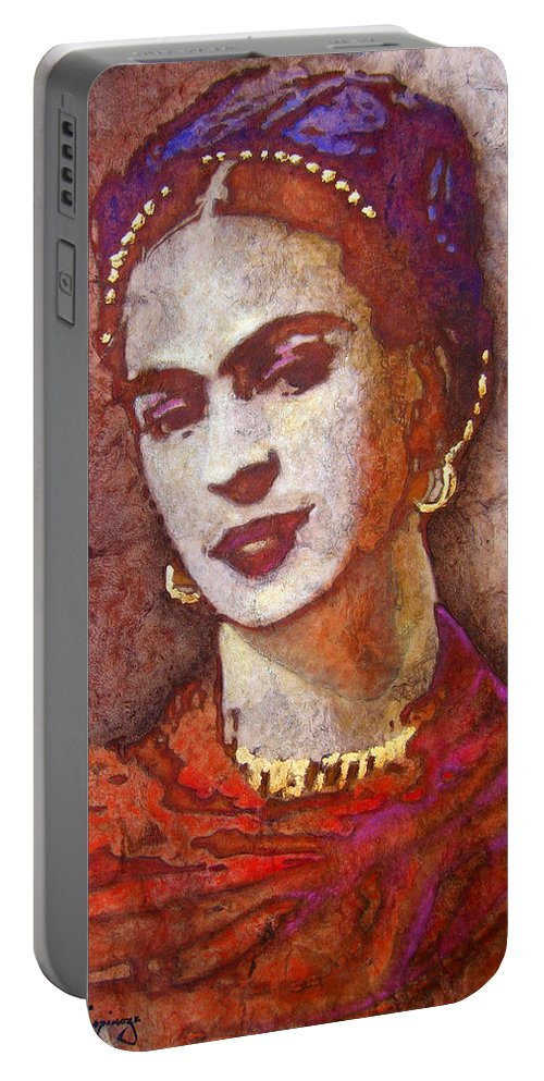 Frida Kahlo Portable Battery Charger featuring the painting F . R . I . D . A by J - O  N  E