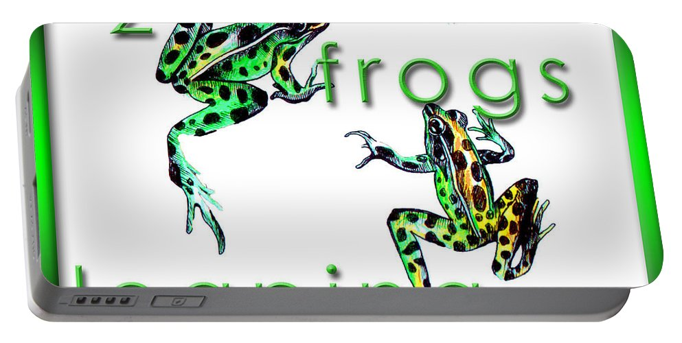 Frogs Portable Battery Charger featuring the drawing 2 Frogs Leaping by Jean Habeck