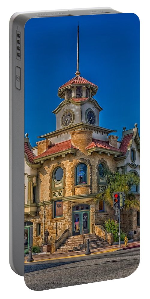 Gilroy Portable Battery Charger featuring the photograph Gilroy's Old City Hall by Mountain Dreams