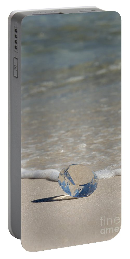 Beach Portable Battery Charger featuring the photograph Glass Diamond On The Beach by Anthony Totah