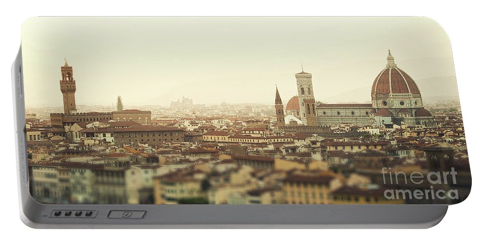 Sunset Portable Battery Charger featuring the photograph Golden Sunset Of Florence, Italy. by Antonio Gravante